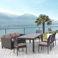 Комплект плетеной мебели T347/S65A/Y380A-W53 Brown (8+1)