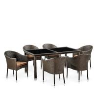 Комплект плетеной мебели T246A/Y350A-W53 Brown 6Pcs