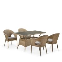 Комплект плетеной мебели T198B/Y97B-W56 Light Brown (4+1)