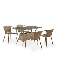 Комплект мебели из иск. ротанга T198D/Y137C-W56 Light Brown (4+1)