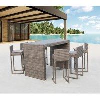 Барный комплект плетеной мебели T390GD/Y390G-W78_6Pcs Grey